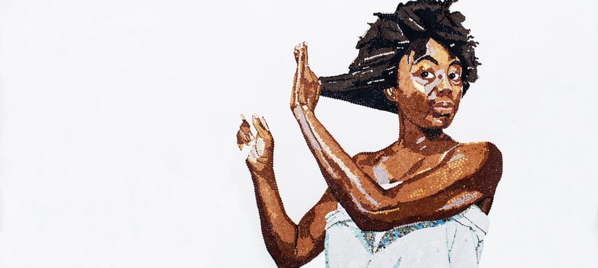 Self Portrait, perforated paper, confetti on handmade water colour paper, 100 x 150cm, 2018handmade-water-colour-paper-100-x-150cm-2018